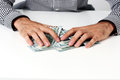 Male Hands Hold Dollars Stock Images - 43451104