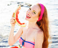 Smiling Girl With Freckles Holding Watermelon Stock Photos - 43451633