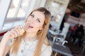 Eating Delicious Ice-cream Happy Smiling Beautiful Young Business Woman Cute Blond Girl Having Fun And Relaxing Looking At Camera Stock Image - 43454761