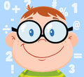 Smiling Geek Boy Head With Background And Numbers Royalty Free Stock Photos - 43459488
