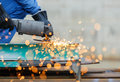 Grinding Steel By Electric Grinding Machine Stock Photo - 43460820