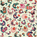 Cute Seamless Pattern With Birds And Hearts Stock Images - 43465344
