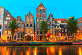 Night City View Of Amsterdam Canal Herengracht Royalty Free Stock Images - 43489709