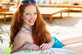Smiling Girl With Freckles On The Beach Stock Images - 43493624