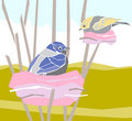 Illustration-birds In Their Nests Stock Image - 4357311