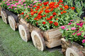 Flowers In Pots In Wooden Box Royalty Free Stock Images - 43515059