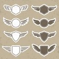 Vintage Heraldic Shapes With Wings Royalty Free Stock Image - 43516416