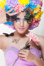 Asian Beautiful Girl With Colorful Make Up With Fresh Chrysanthemum  Flowers And Butterfly Stock Photos - 43521893