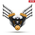 Motorcycle Engine With Metal Wings. Vector Royalty Free Stock Photography - 43522257