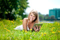 Beautiful Smiling Woman With Tablet Pc, Outdoors. Beautiful Youn Stock Photography - 43529562