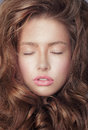 Daydream. Pensive Fresh Woman S Face With Closed Eyes And Curly Hair Royalty Free Stock Photo - 43539475
