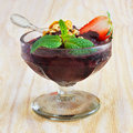 Acai Pulp With Strawberry And Fresh Mint In Glass Stock Photography - 43540192