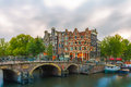Dusk City View Of Amsterdam Canal And Bridge Royalty Free Stock Photos - 43544238
