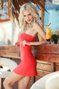 Beautiful Sexy Blonde Woman In Bar Royalty Free Stock Photos - 43559218