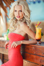 Beautiful Sexy Blonde Woman In Bar Royalty Free Stock Images - 43559229