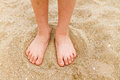 Child S Bare Feet In Sand Royalty Free Stock Image - 43569366