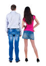 Back View Of Young Couple  Hug And Look Into The Distance. Stock Photo - 43573190