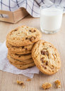 Chocolate Chip Cookie With Almond And Milk Glass Stock Photo - 43585140