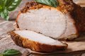 Sliced Baked Pork Fillet And Basil Close-up On The Table Stock Photography - 43590642