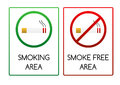 Signs For Smoking And Smoke Free Area Stock Images - 43592764