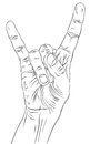 Rock On Hand Sign, Rock N Roll, Hard Rock, Heavy Metal, Music, D Stock Photography - 43599792