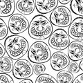 Funny Faces Seamless Background, Black And White Lines Vector Ca Stock Photos - 43602363