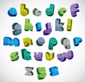 3d Colorful Letters Futuristic Alphabet Made With Boxes. Royalty Free Stock Images - 43603249
