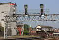 Signal Gantry And Signal Box At Shrewsbury Station Stock Photography - 43609572