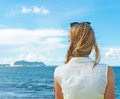 Woman Standing Near The Sea. Stock Images - 43611214