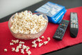 Popcorns In A Bowl On A Table Royalty Free Stock Photo - 43624245
