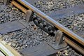 Metal Rail With Joiner On Railway Track. Stock Photo - 43625520