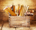 Old Tools In A Wooden Box Royalty Free Stock Images - 43628129