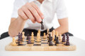 Focused Businessman Playing Chess Solo Royalty Free Stock Image - 43638516
