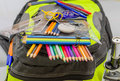 School Bag, Backpack, Pencils, Pens, Eraser, School, Holiday, Rulers, Knowledge, Books Royalty Free Stock Photos - 43646938