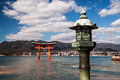 The Old Japanese Lantern And Torii Royalty Free Stock Photos - 43668368
