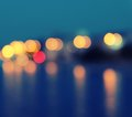Square Image Of A Blurred City Lights With Bokeh Effect Reflected On Water. Stock Photography - 43676022