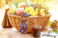 Autumn Harvest In Wicker Basket And Red Wine Stock Images - 43679174