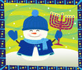 Snowman And Menorah Royalty Free Stock Photography - 43681807