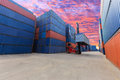 Forklift Handling The Container Box At Dockyard With Beautiful S Stock Images - 43694114