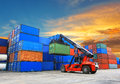 Forklift Handling The Container Box At Dockyard Royalty Free Stock Photography - 43694147