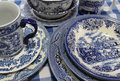Collection Of Blue And White China Dishes Stock Images - 43695834