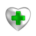 Silver Heart With Medical Green Cross Sign Stock Image - 43696261