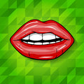 Sexy Wet Red Lips With Teeth Pop Art Set Backgrounds Royalty Free Stock Images - 43697099