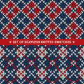 Set Of 2 Seamless Knitted Patterns Stock Images - 43706704