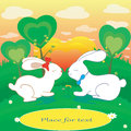 Rabbits Love Hearts Vector Card With Place For Text Stock Photos - 43706863