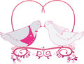 Illustration Wedding Pigeons And Heart. Icon Or Card Of Doves Stock Photos - 43706953