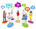 People Social Networking Via Modern Technology Royalty Free Stock Photography - 43739237
