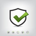 Shield Check Mark And Web Icons Royalty Free Stock Photography - 43745687