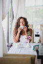 Young Woman Enjoying Smell Of Coffee Royalty Free Stock Photos - 43756588