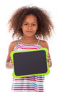 African American School Girl Holding A Blank Black Board - Black Royalty Free Stock Photo - 43774845